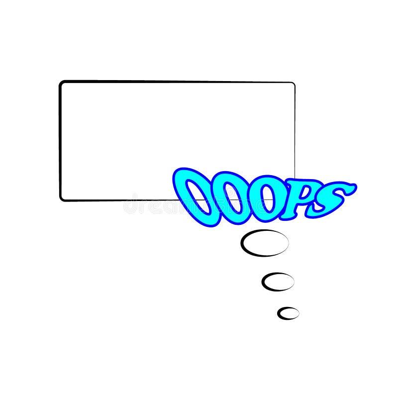 r 在白色背景在可笑的流行艺术样式的框架模板隔绝的 与文本的可笑的泡影讲话哟 Ooops 皇族释放例证