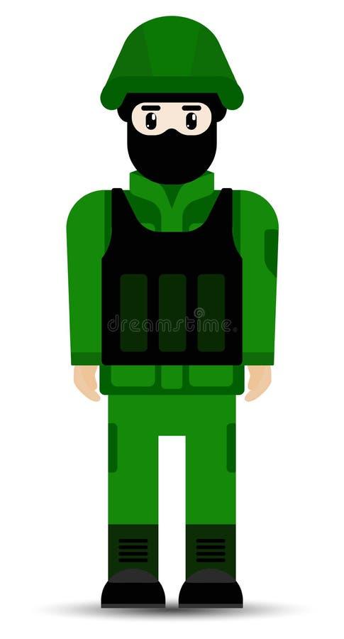 r 在白色背景在平的样式隔绝的军用伪装制服的战士人 库存例证