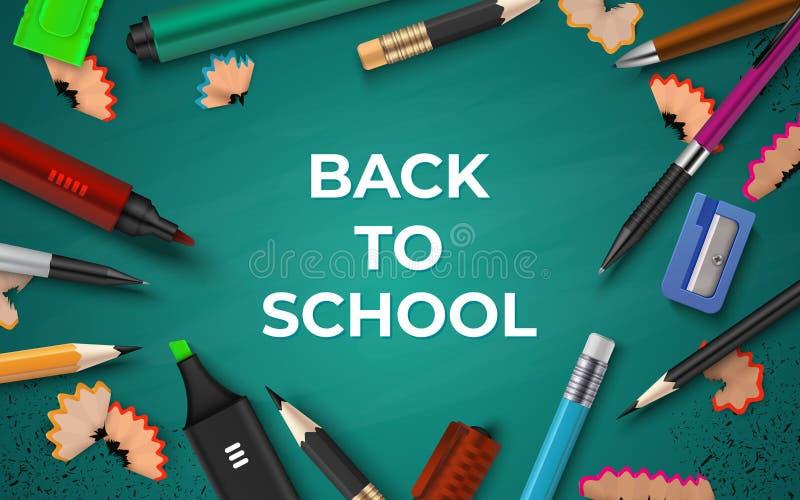 r 在黑板、笔铅笔刷子和标志的现实文具 教育传染媒介3D的学校 向量例证