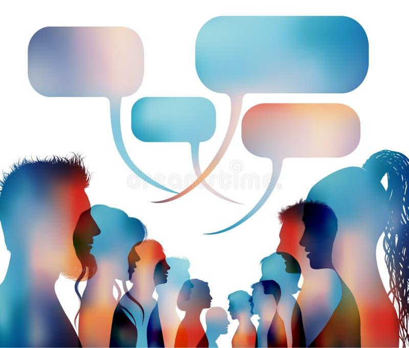r 小组被隔绝的色的人谈话 r r 人群讲话 ? 向量例证