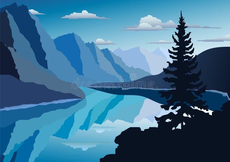 r 山的河 o 由湖的树 r 皇族释放例证