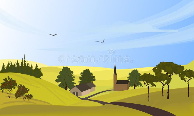 r 徒手画的拉长的动画片户外样式 农厂房子,在草甸,绿色领域的弯曲道路 r 向量例证