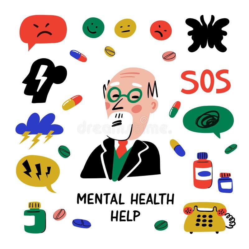 r 心理帮助 设置在心理学题材的手拉的象  心理学、脑子和精神健康 库存例证