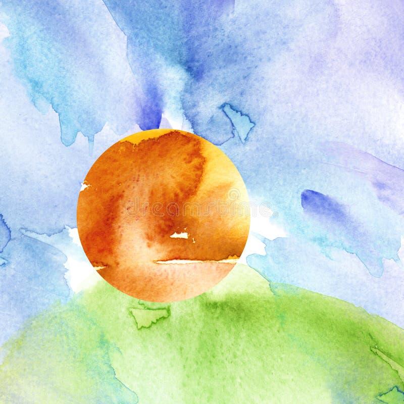r 日落,黎明,黄色,橙色太阳,与云彩的天空蔚蓝 绿草,小山 库存例证