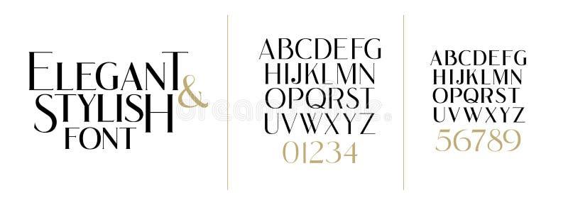 r 时髦的典雅的传染媒介综合字体 设置信件英语 库存例证