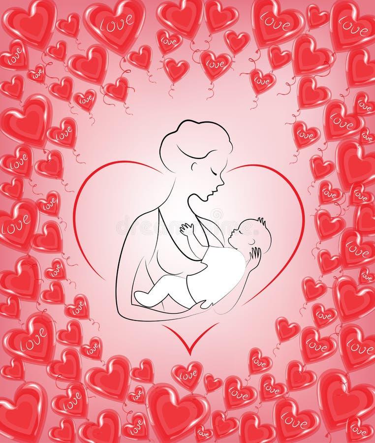 r 有一个婴孩的一个女孩她的胳膊的 r r 以心脏和红色的形式框架 库存例证