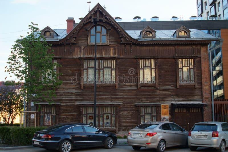 r 果戈理街20 20世纪初的木建筑学的纪念碑 免版税库存照片