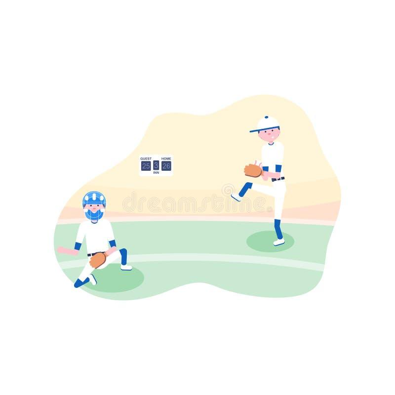 r 棒球动画片球员 皇族释放例证