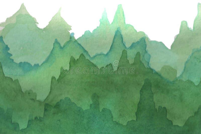 r 水彩白色背景的梯度森林 向量例证
