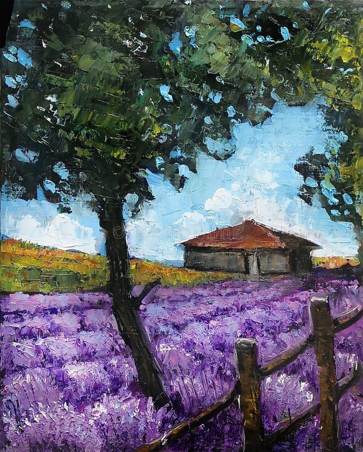 r 淡紫色领域 调色刀现代美术  与一个violete领域的白天风景在石村庄附近 免版税图库摄影