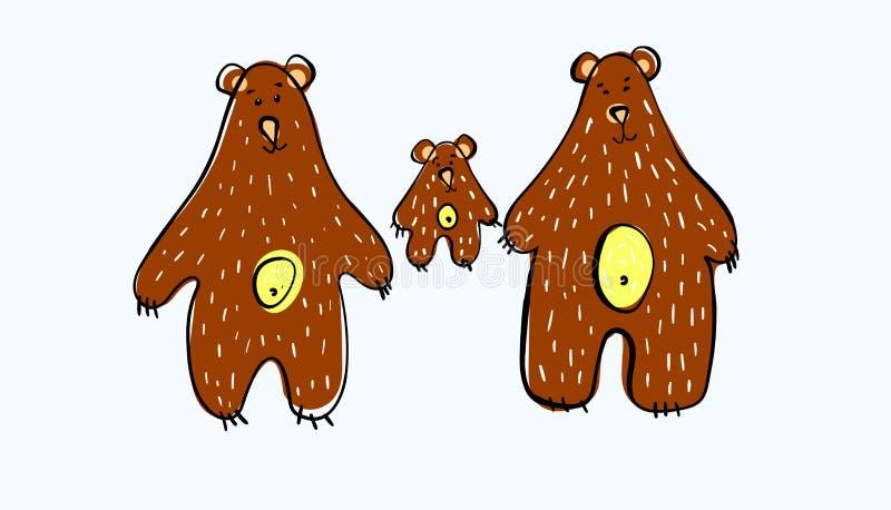 r 熊家庭 三头棕熊 爸爸熊母亲熊和小的熊 对创造衣物设计 皇族释放例证