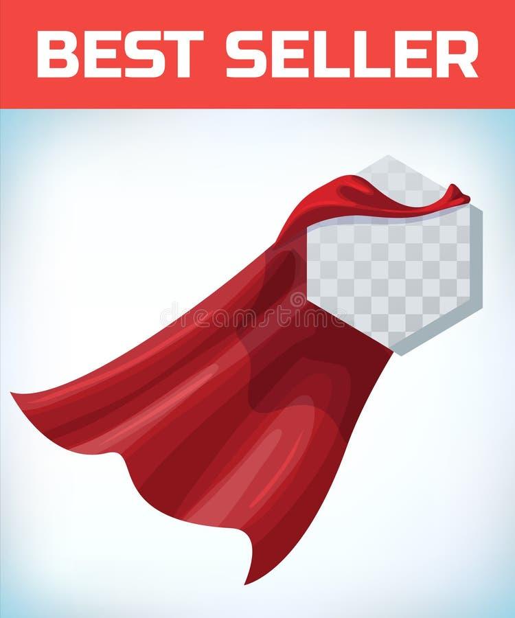 r 特级英雄海角 红色超级斗篷 字符英雄商标 经理领导 r 领导标志 向量例证