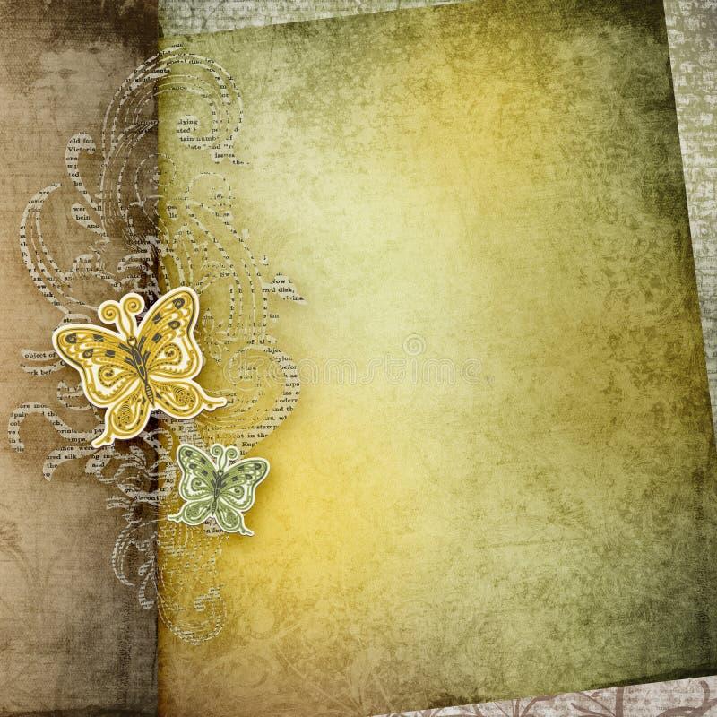 r 老纸纹理卡片设计 纸蝴蝶 库存例证