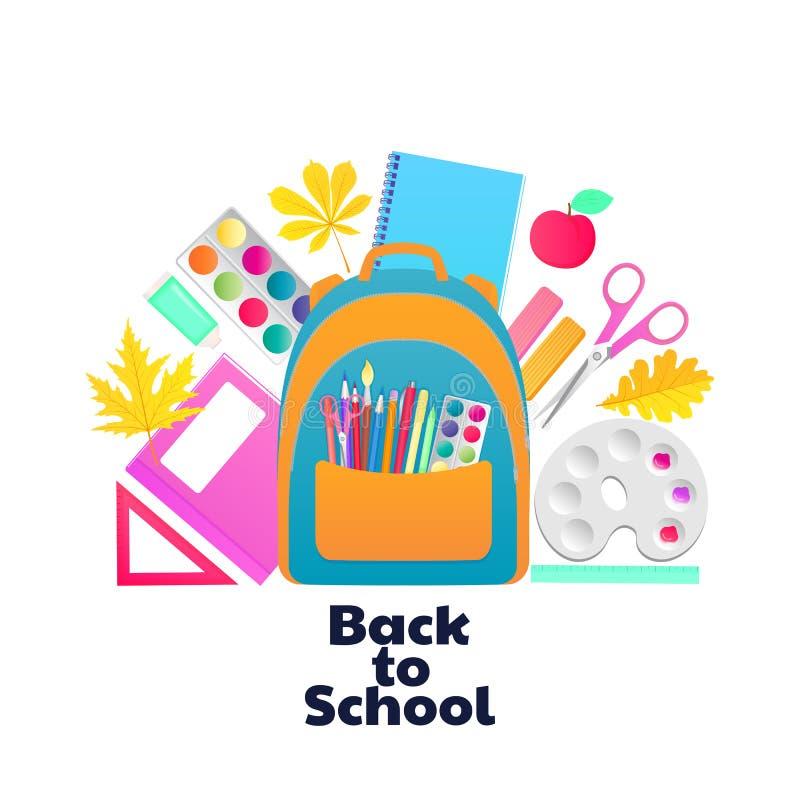 r 背包和学童供应 文具和项目儿童的创造性的 皇族释放例证