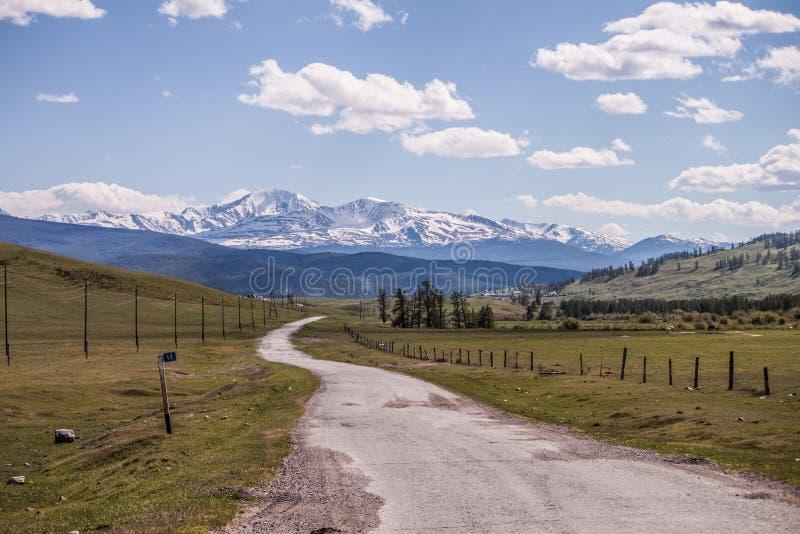 r 路到以山的森林和积雪覆盖的峰顶的为背景距离里 库存图片