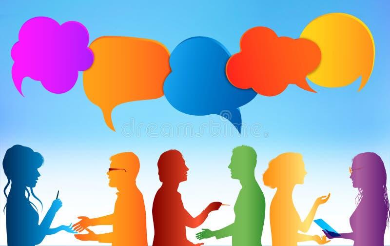 r 通信人 色的云彩 在社会媒介的谈话 在不同的人民之间的对话 ??c 图库摄影