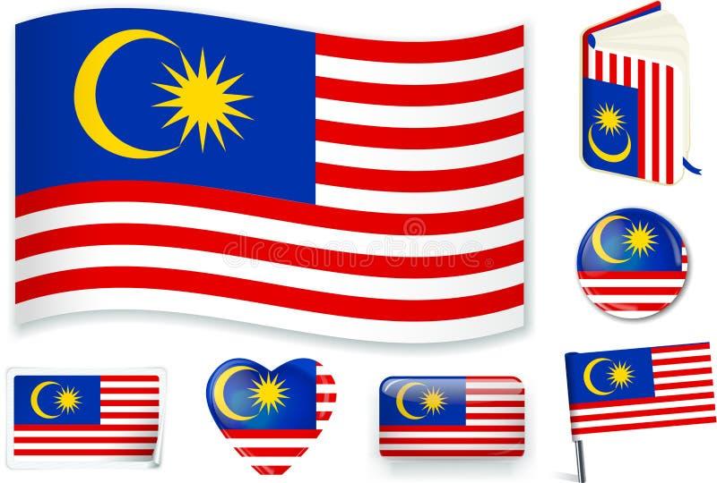 r 马来西亚旗子波浪、书、圈子、别针、按钮、心脏和贴纸 库存例证