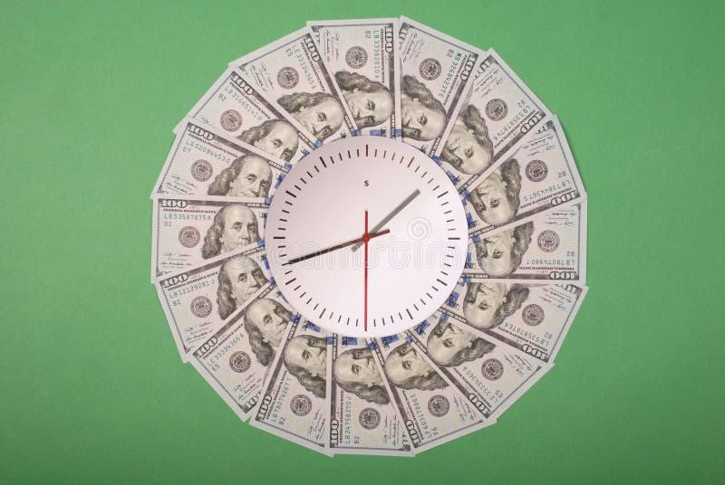 时钟和美元的概念 r r 免版税库存照片