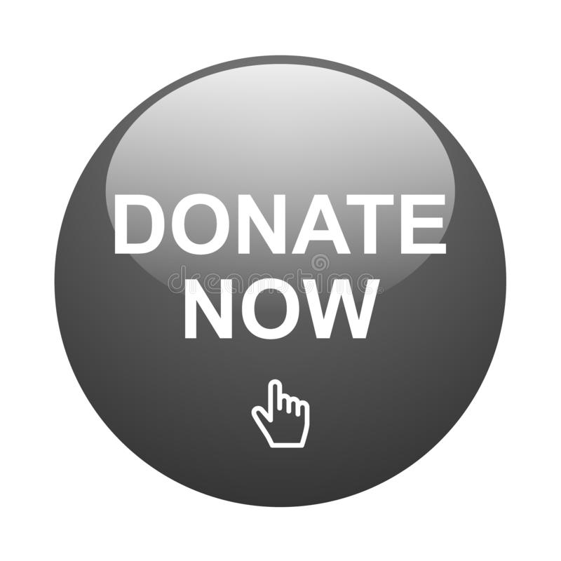 Donate now button. Vector illustration of glossy donate now web button on isolated white background stock illustration