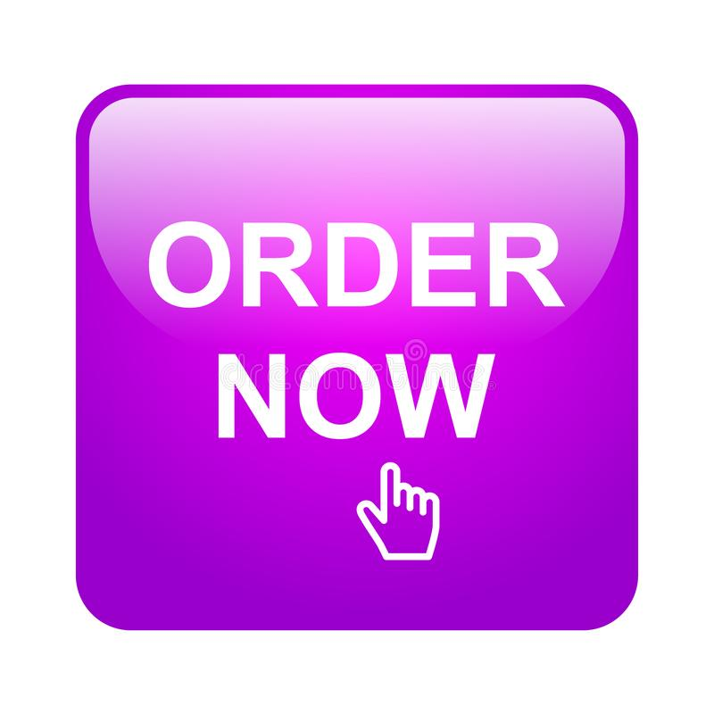 Order now. Web button on computer generated web button icon on pure white background stock illustration