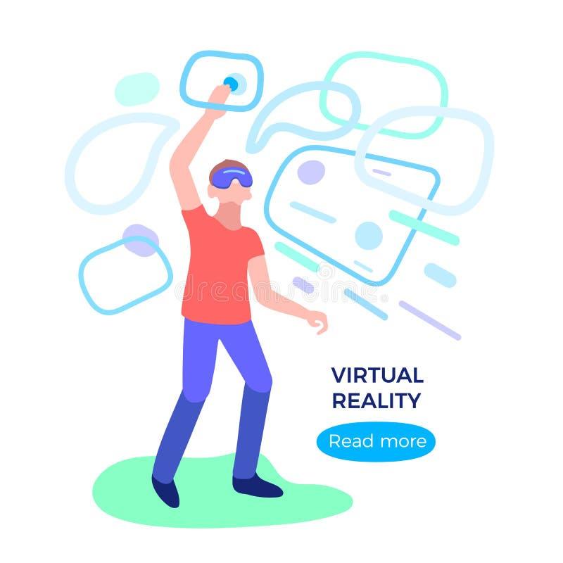R?alit? virtuelle Homme avec le verre, casque Technologie numérique de réseau illustration libre de droits