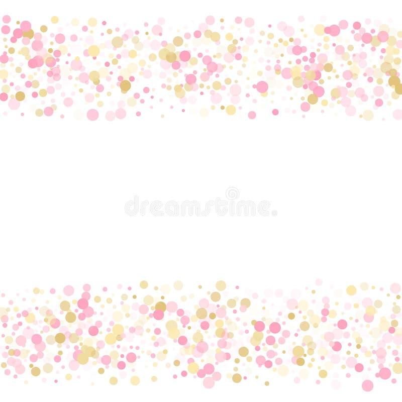 R??ana z?ocista confetti okr?gu dekoracja dla ?lubnej zaproszenie karty Wakacyjna wektorowa ilustracja ilustracji