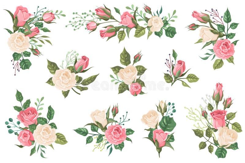 R??ani bukiety Kwieciści zaproszenia z czerwony różowy i białym wzrastali pączki z zielonymi liśćmi Ślubni bukiety dla witać royalty ilustracja