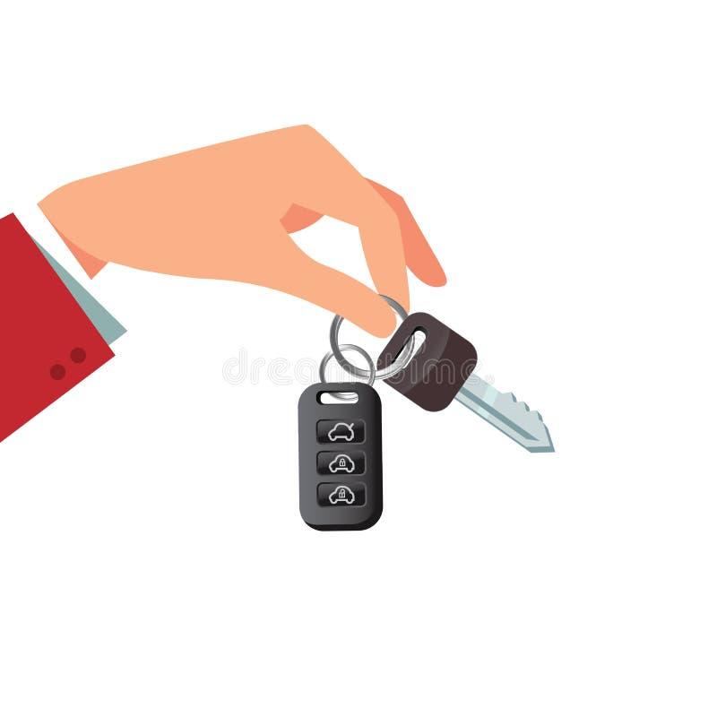 R-Automiet- oder -verkaufskonzept in der flachen Art - Handholding-Autoschlüssel lizenzfreie abbildung