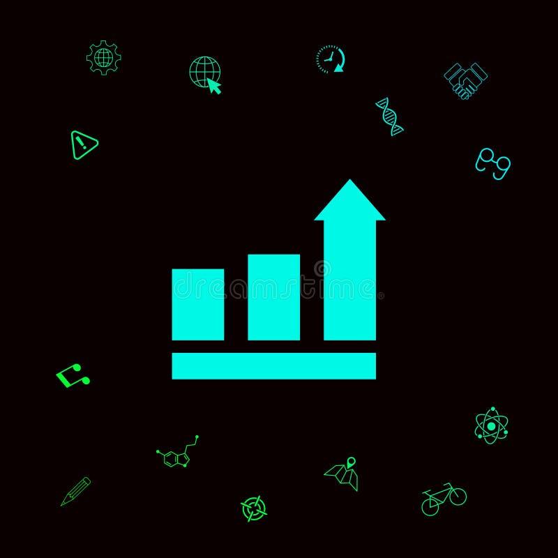 R bary graficznych z powstającą strzała ikona Graficzni elementy dla twój designt ilustracji