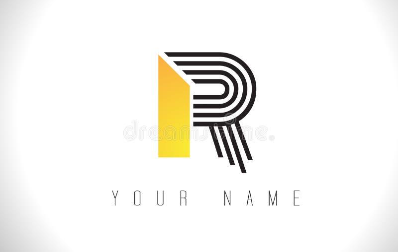R Black Lines Letter Logo. Creative Line Letters Vector Template. R Black Lines Letter Logo. Creative Line Letters Design Vector Template royalty free illustration