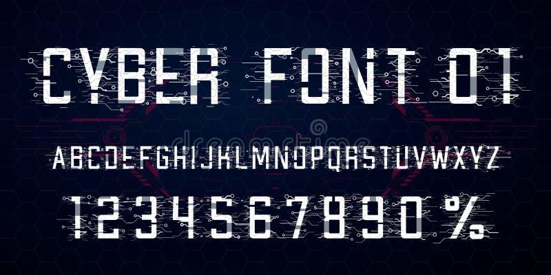 r Buchstabe-, Zahl- und Prozentsymbol für Cyber Montag, High-Teche Art vektor abbildung