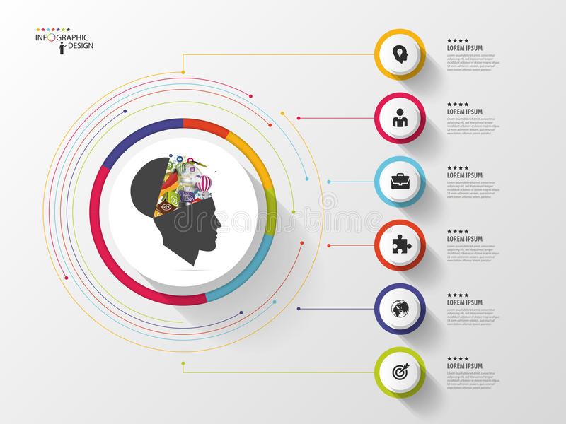 r Cabeça criativa Círculo colorido com ícones Vetor ilustração stock