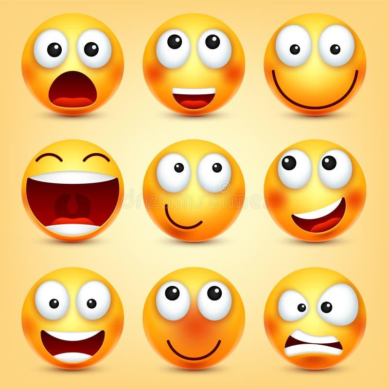 r Cara amarela com emoções Expressão facial emoji 3d realístico Personagem de banda desenhada engraçado modo ilustração stock