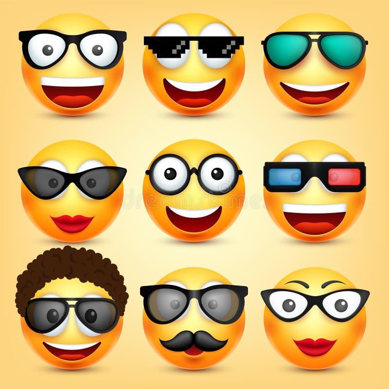r Cara amarela com emoções Expressão facial emoji 3d realístico Personagem de banda desenhada engraçado modo ilustração do vetor