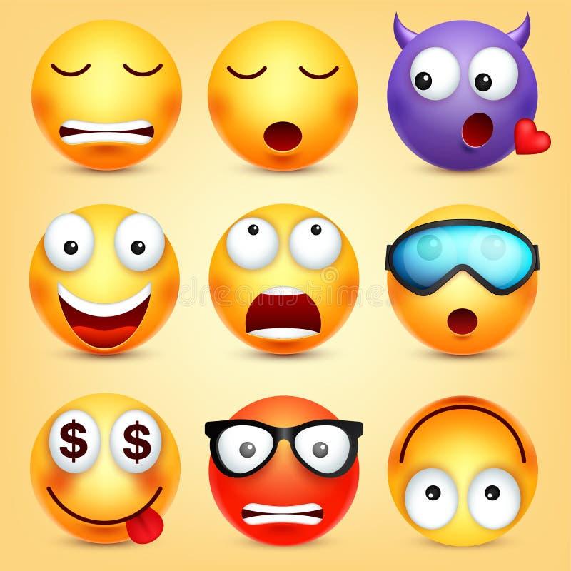 r Cara amarela com emoções Expressão facial emoji 3d realístico Personagem de banda desenhada engraçado modo ilustração royalty free