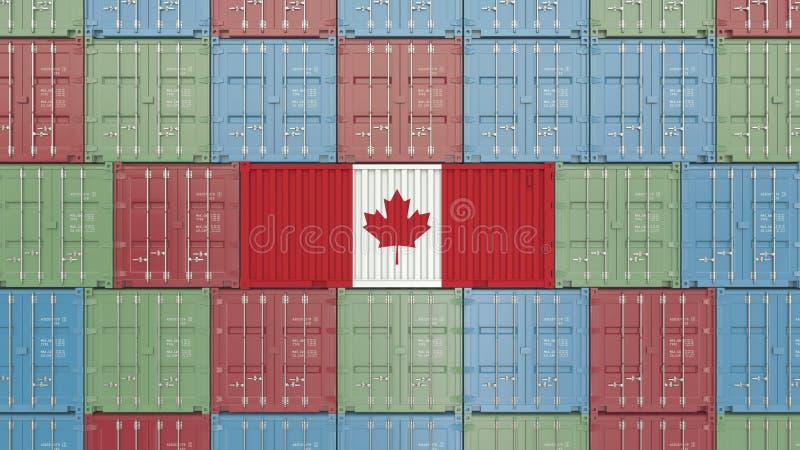 R?cipient de cargaison avec le drapeau du Canada Rendu 3D relatif canadien d'importation ou d'exportation illustration libre de droits
