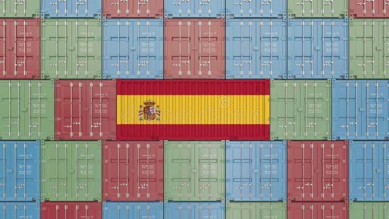 R?cipient de cargaison avec le drapeau de l'Espagne Les Espagnols importent ou exportent le rendu 3D relatif illustration de vecteur