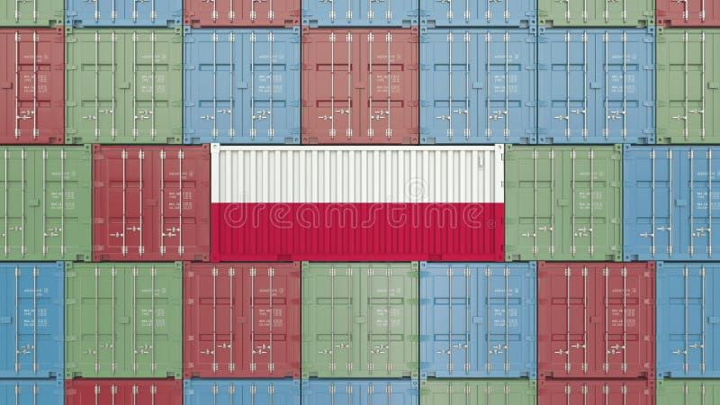 R?cipient de cargaison avec le drapeau de la Pologne Rendu 3D relatif polonais d'importation ou d'exportation illustration libre de droits