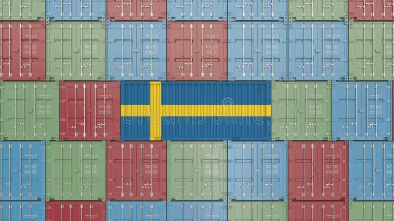 R?cipient de cargaison avec le drapeau de la Su?de Les Su?dois importent ou exportent le rendu 3D relatif illustration libre de droits