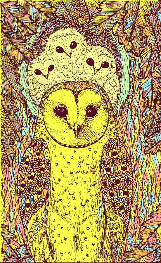 R?cka utdragen konst med ugglor p? eken Realistiskt psykedeliskt färgrikt grafiskt konstverk ocks? vektor f?r coreldrawillustrati stock illustrationer