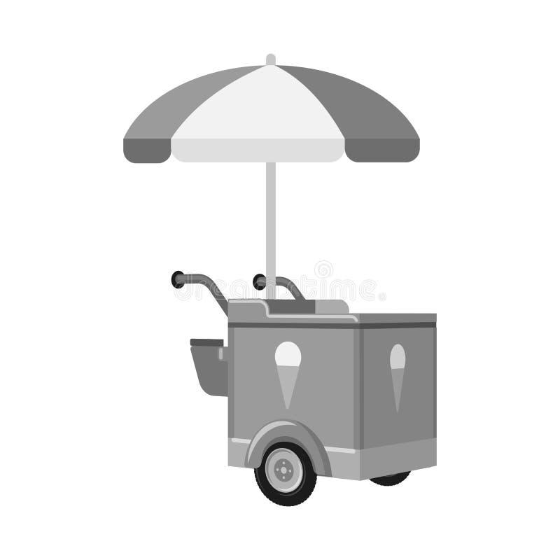 r Colección de icono del vector del carro y de la sombrilla para la acción ilustración del vector