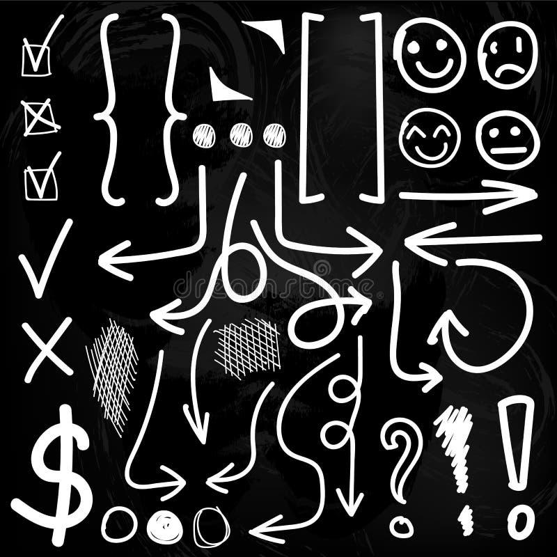 r Compruebe, las marcas de exclamación, círculos, paréntesis, flechas Dibujos de tiza fijados ilustración del vector