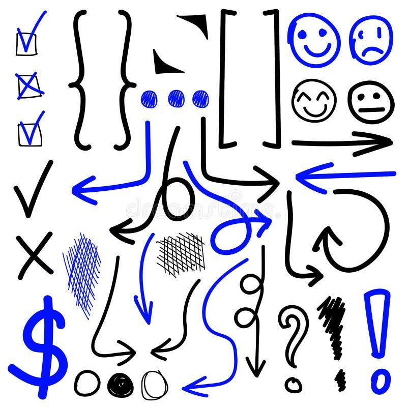 r Compruebe, las marcas de exclamación, círculos, paréntesis, flechas Sistema negro y azul stock de ilustración