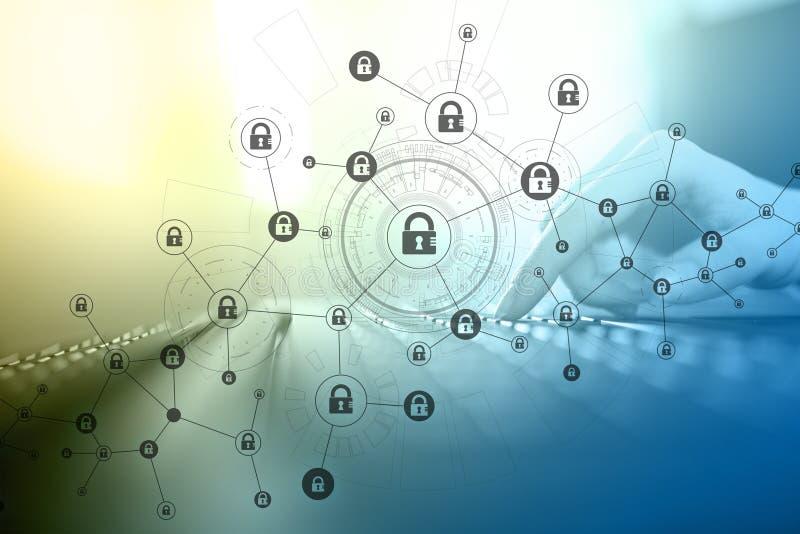 r Cryptocurrency kodade data, cybersäkerhet stock illustrationer
