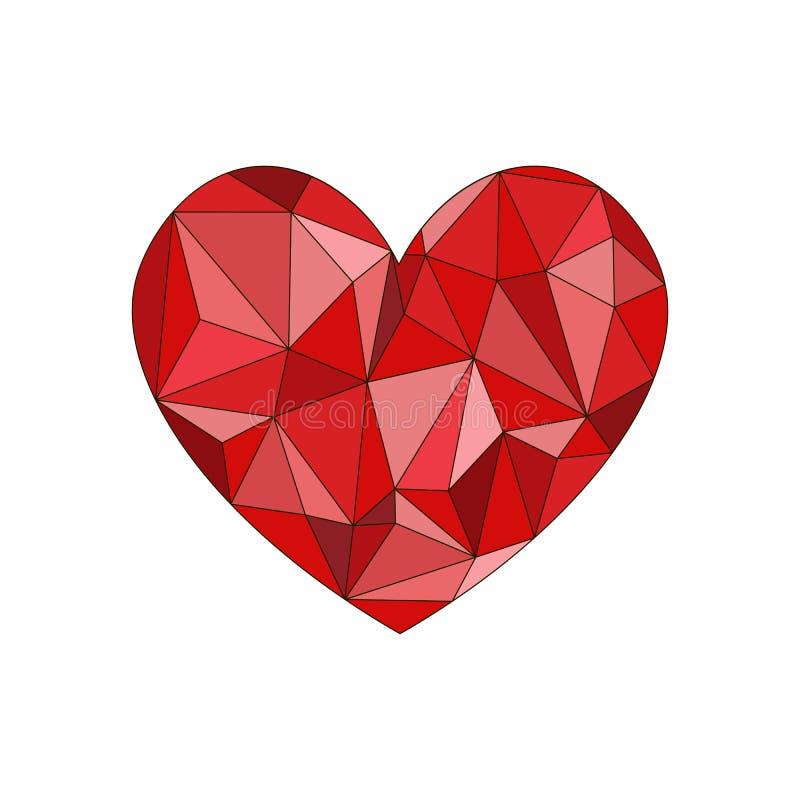 R?d diamanthj?rta Diamanthj?rtaform, vektorformat f?r valentin vektor illustrationer