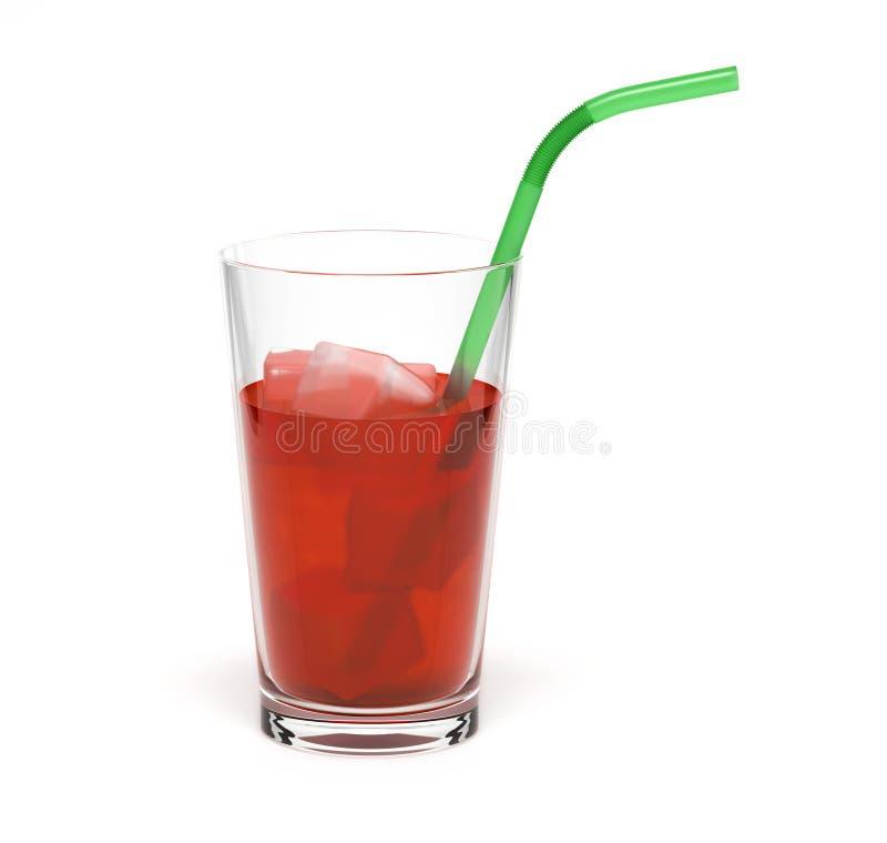 R?d drink i ett exponeringsglas Med is och sugrör vektor illustrationer