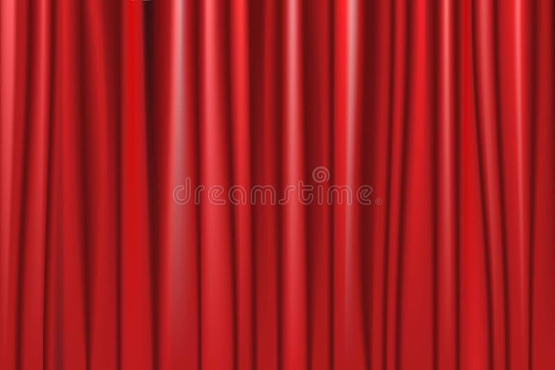 R?d gardin f?r teater med fl?ckbelysning vektor illustrationer