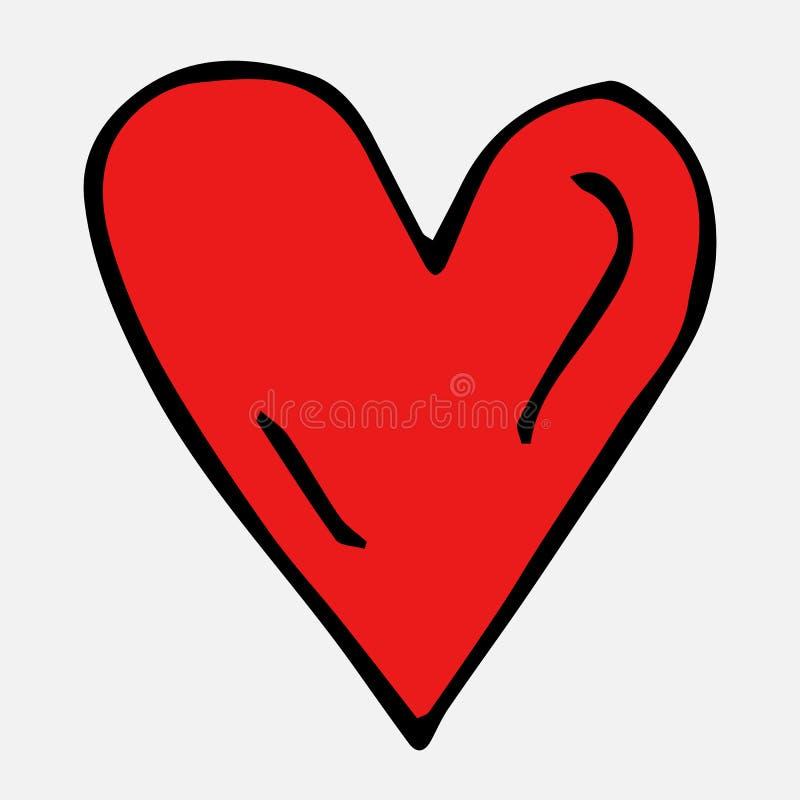 R?d hj?rta Samling av beståndsdelar som dras av handen Isolerat p? vit Vykort Valentine' s-dag royaltyfri illustrationer