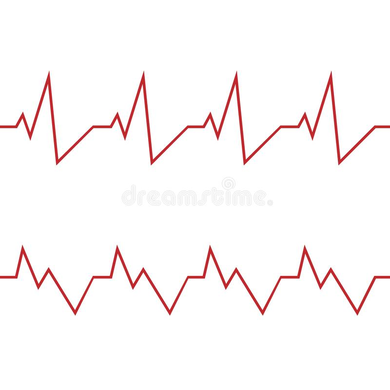 R?d hj?rtslagsymbol ocks? vektor f?r coreldrawillustration Hj?rtslaget undertecknar in plan design royaltyfri illustrationer