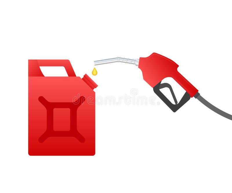 R?d kanister Tanka bensin eller det diesel- vektorreng?ringsdukbanret Bensinstationer knyter kontakt, oljor konstruktionsillustra vektor illustrationer